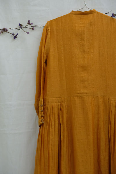 Pleated Waist Zari Chanderi Kurta Ochre
