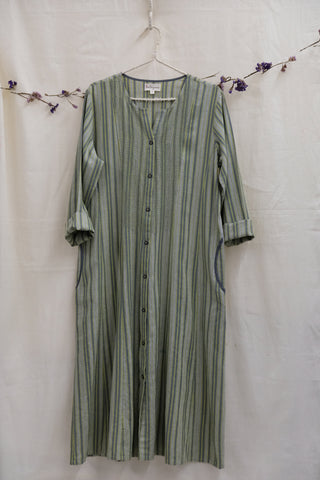 Hand Woven Stripe Button-down Embridered Overlay
