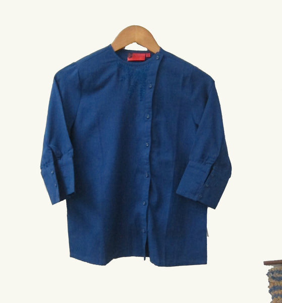 Cotton Linen Overlap Shirt