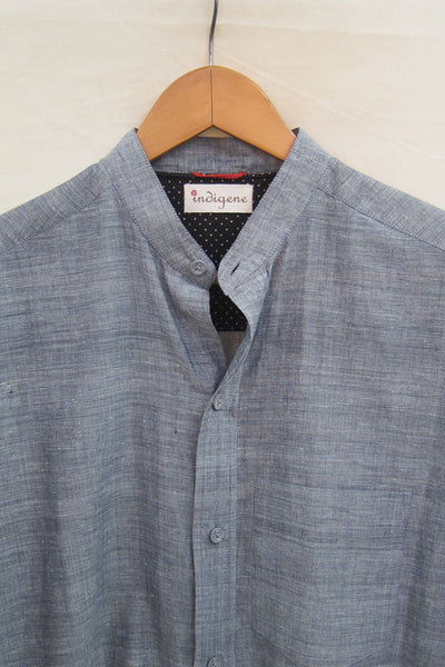 Charcoal Chambray Mandarin Collar Shirt
