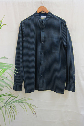 Handwoven stripe mandarin collar shirt