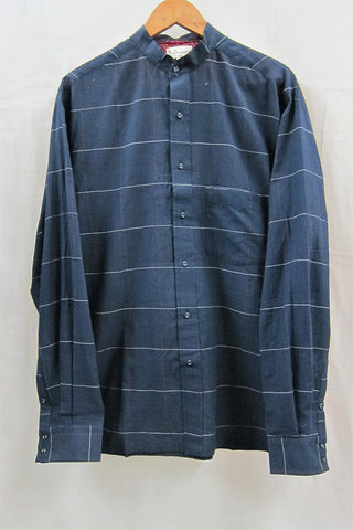 Black handwoven Check Mandarin Collar Shirt