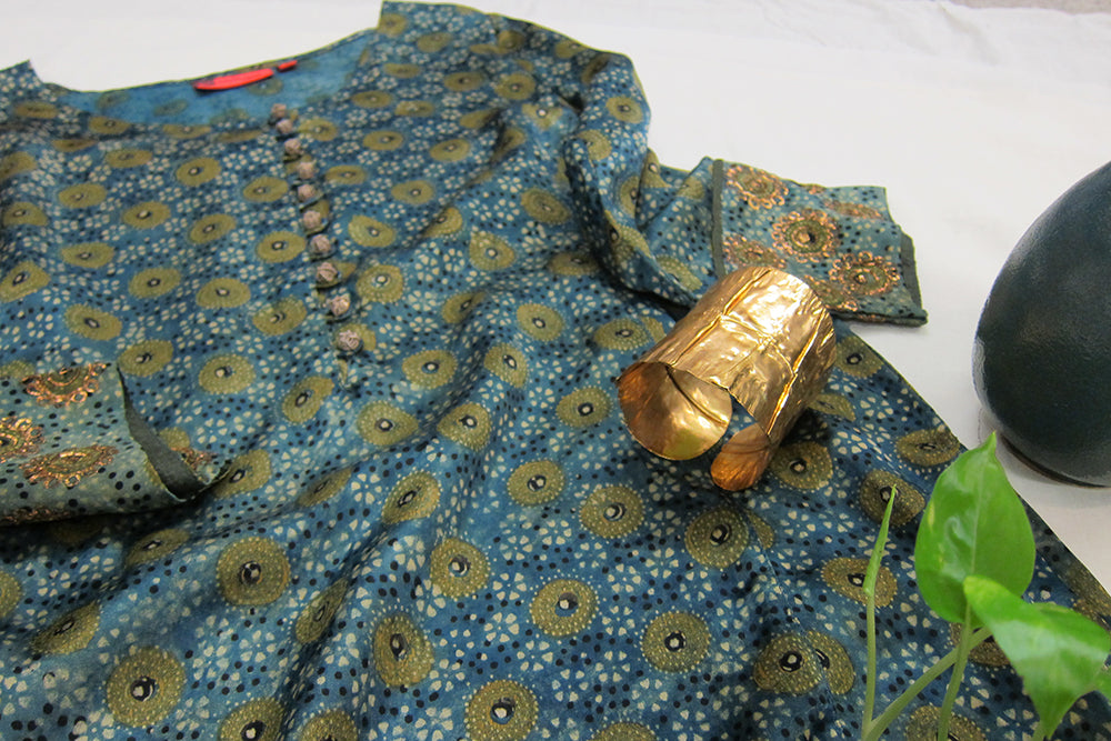 Ajrakh Modal Long kurta w/ Embroidery & Hand Textured Gold Plated Cuff