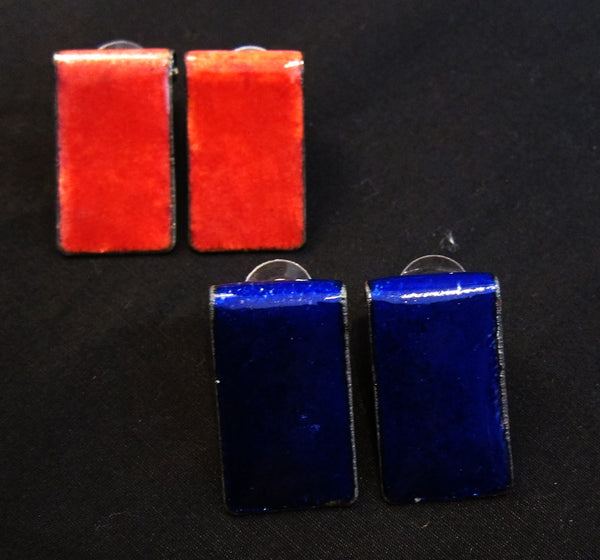 Hand enameled rectangular studs