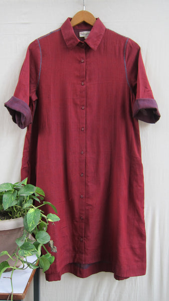 Hand Woven back pleated button down dress