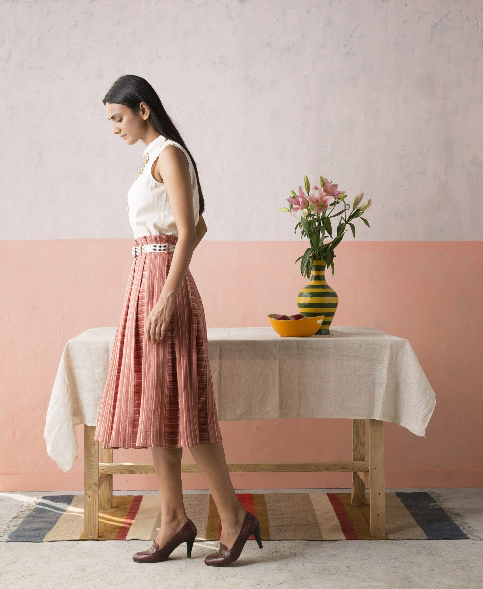 Box Pleated Hand woven Stripe Skirt