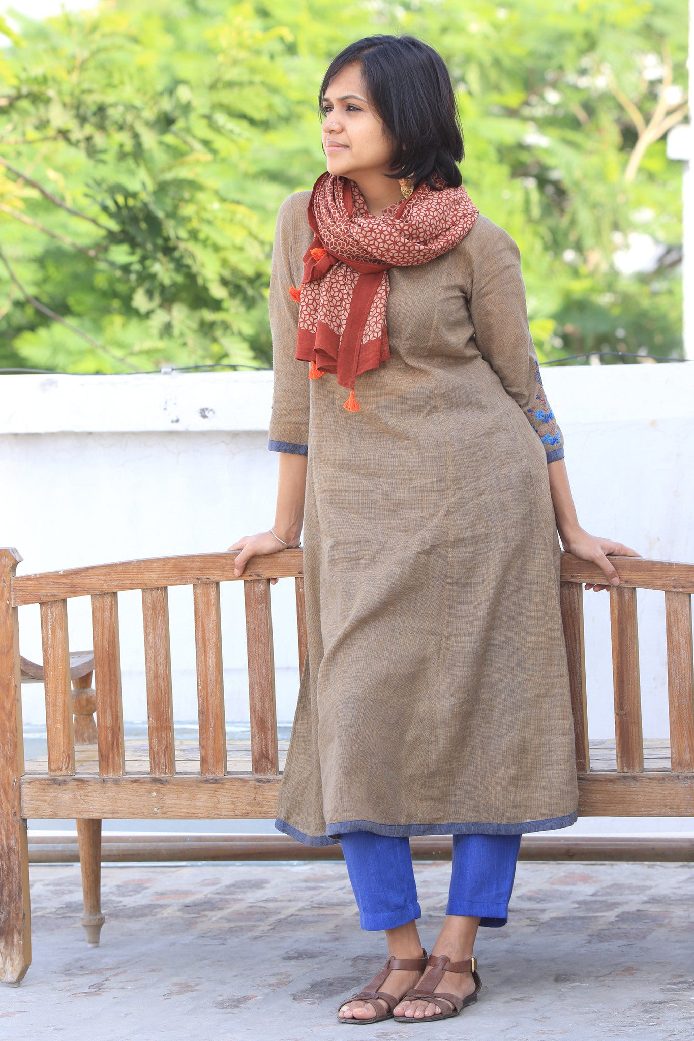Era Long Hand Woven Check Kurta