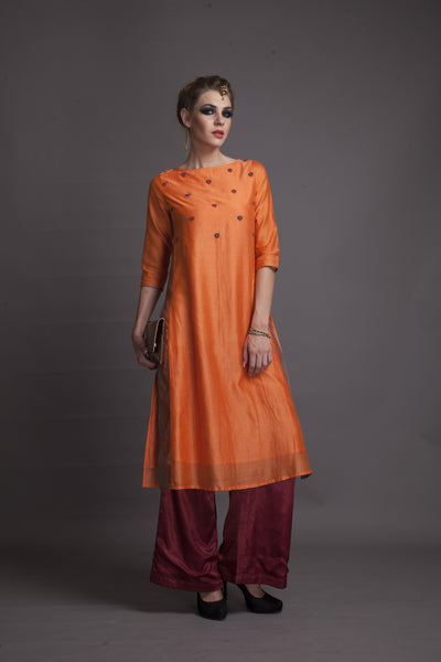 Chanderi Straight Fit Long Kurta