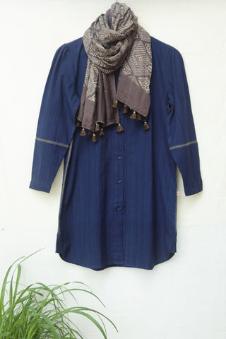 Hand woven stripe shirt dress