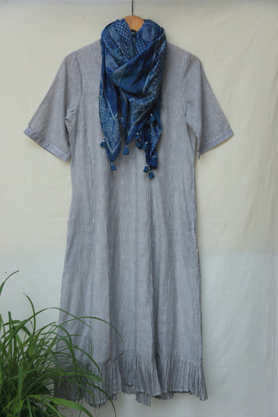 Charcoal striped khadi dress
