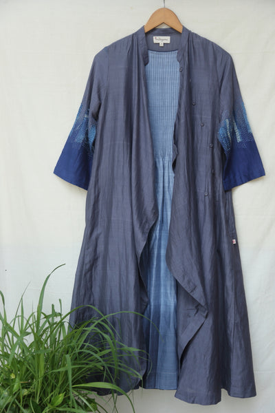 Dip dyed cotton silk wrap dress