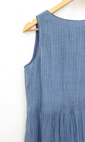 Ombre Dyed Pin-tuck Dress in Cotton Silk