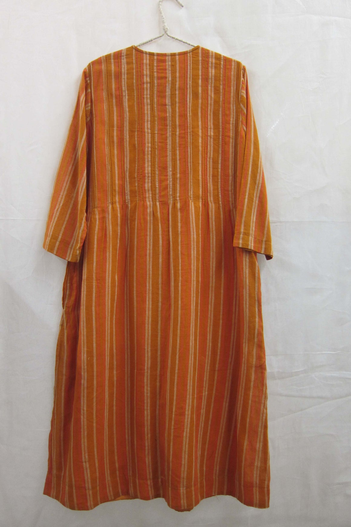 Cotton Gauze Pintuck Button-down Dress Ochre