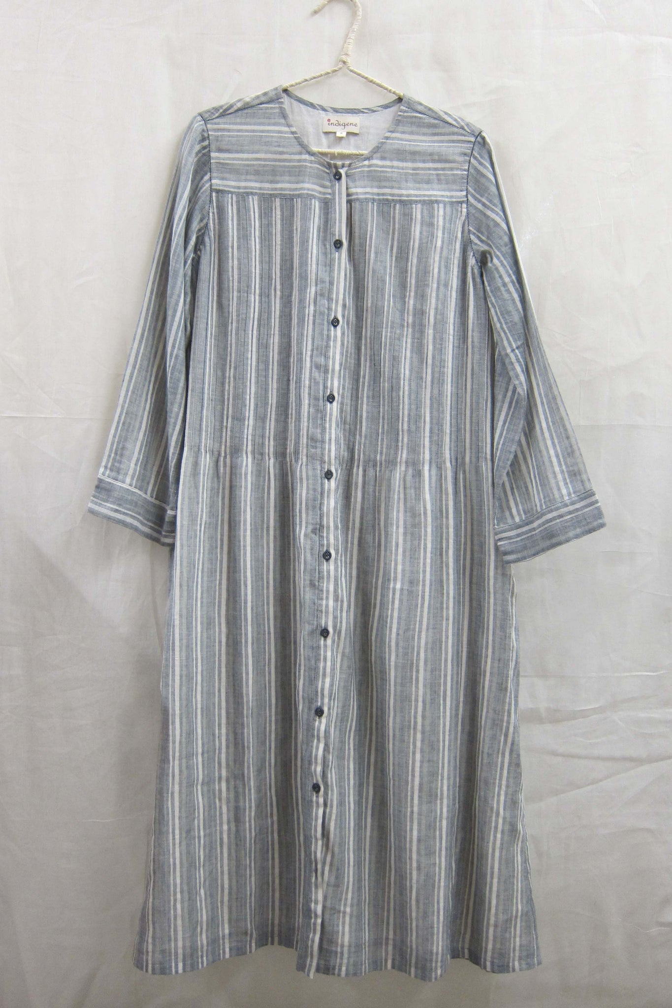 Cotton Gauze Stripe Button-down dress Grey