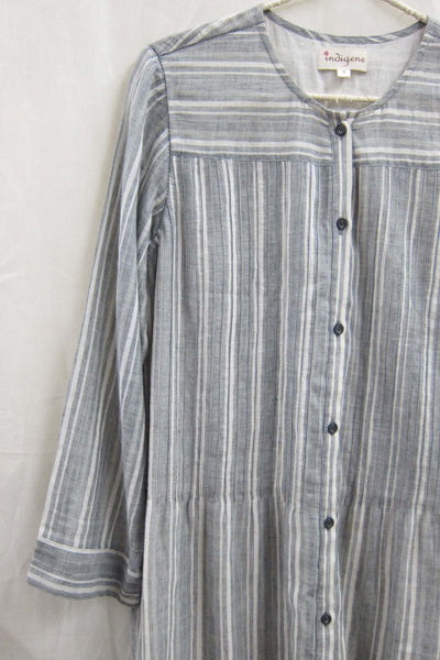 Khadi Gauze Stripe Button-down dress Grey