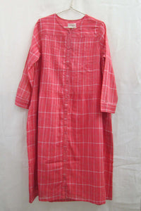 Gauze Stripe Button-down dress Pink Plaid