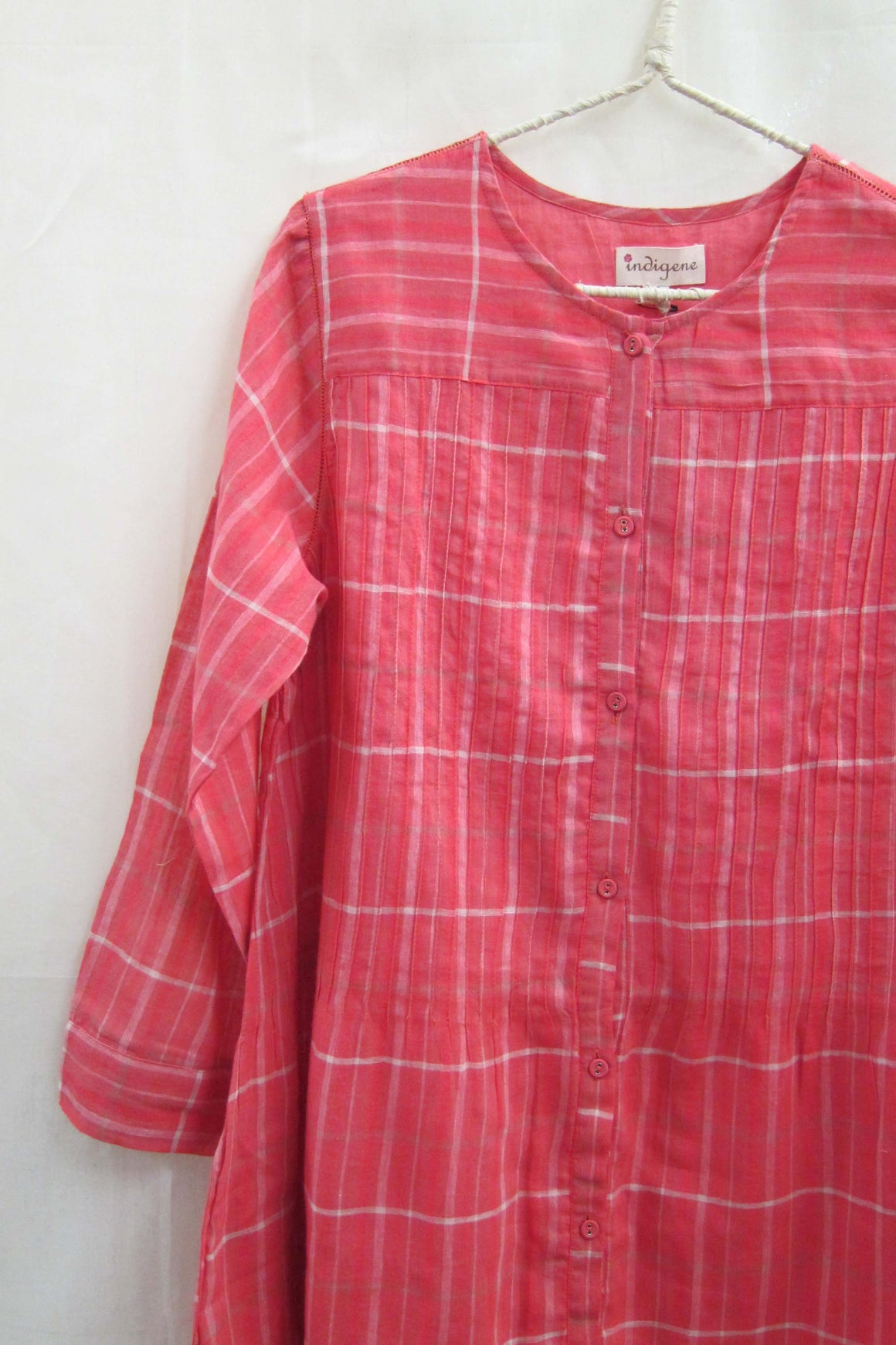 Cotton Gauze Button-down dress Candy Plaid