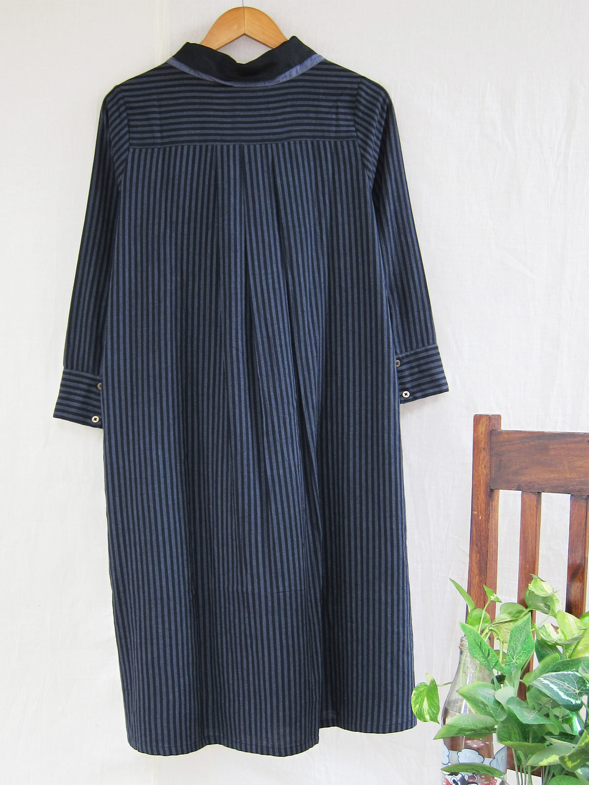 Aja Hand woven stripe double collar dress