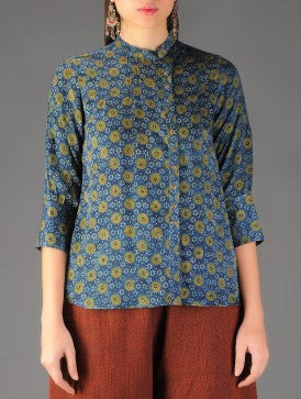 Ajrakh printed side button shirt