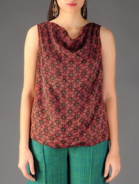 Ajrakh printed cowl neck sleeveless top
