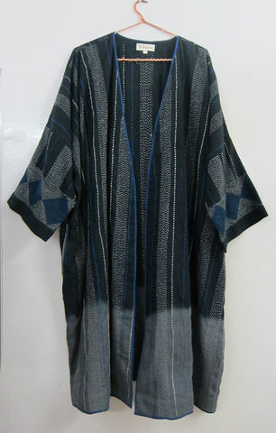 Dip dyed khadi embroidered overlay
