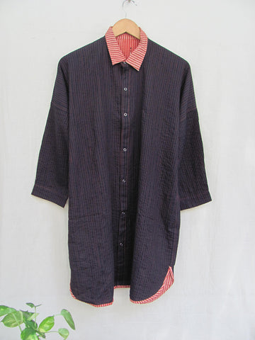 Reversible quilted kimono shirt