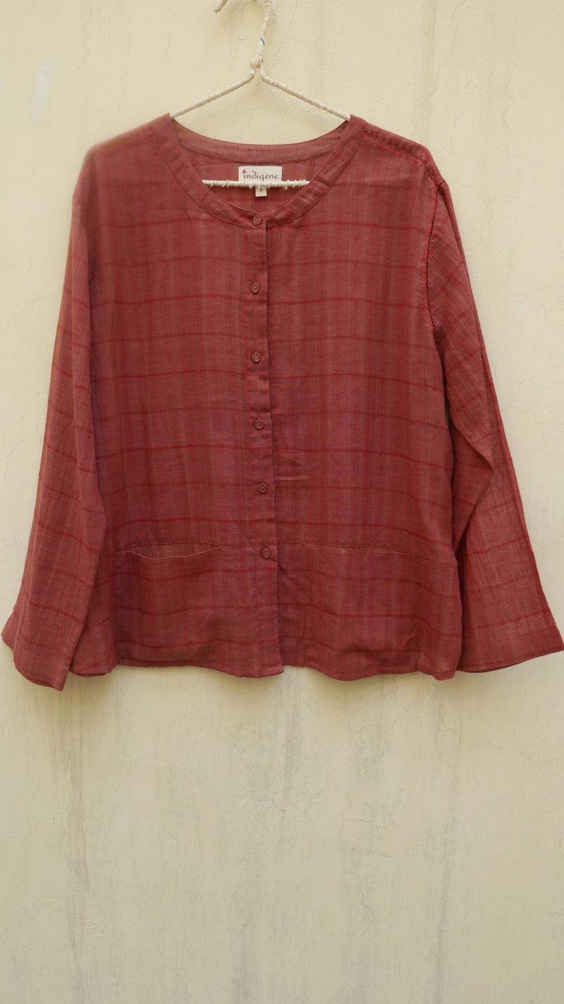 Oak Woven Gauze Plaid Top