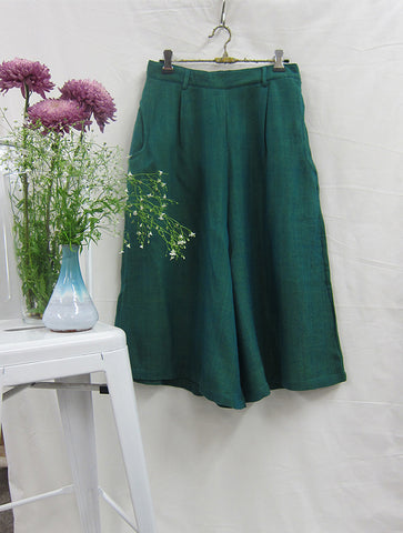 Herringbone Merino Wool Culottes Sea Green