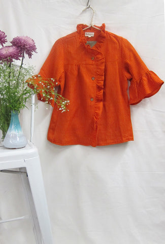 Ruffle Placket Woolen Jacket Sunset Orange