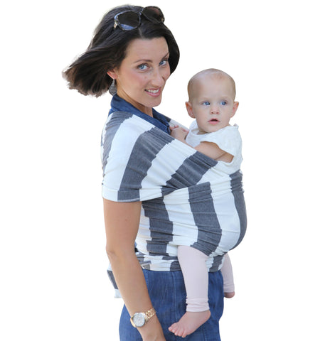 Premium Soft Infant Sling Child Carrier Cotton/Spandex Stretchy Wrap Grey Stripes