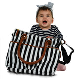 Baby Changing Bag Diaper Bags w/ Changing Mat Designer Bags for Girls Boys Twins, Black Stripes