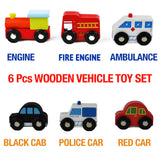 Wooden Toys Cars Bus Engine Emergency Vehicles Educational Toy for Early Learning for 3 Year Olds