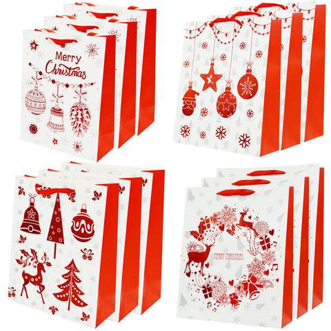 Luxury Christmas Gift Bags Large - [12 Pack] 26cm x 32cm x 12 cm Shopping Paper Bag, Party Birthday Gift Bags