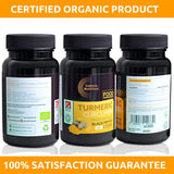 Organic Turmeric Capsules with Black Pepper - High Strength Food Supplement - 180 Vegan Capsules - Soil Association Organic Certified and Vegetarian Society Approved - Made in UK