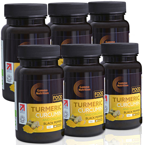 Organic Turmeric Capsules with Black Pepper - High Strength Food Supplement - 180 Vegan Capsules - Soil Association Organic Certified - Made in UK
