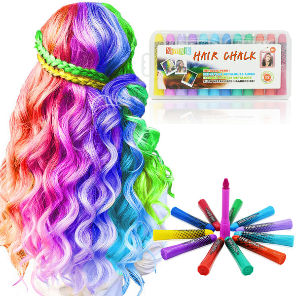 Hair Chalk Birthday Gifts For Girls - 12 Temporary Non-Toxic Easy Washable Hair Chalk Colour Pens | Presents For Girls Of All Ages | Girls Hair Accessories Toy Crayons Chalks