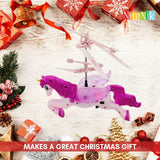 NimNik Flying Unicorn Drone Kids Toy - Hand Controlled Infrared Induction RC Helicopter with Flashing UFO LED Lights | Fun Gadgets for Boys Girls Teenagers Adults | Indoor Outdoor Garden Games