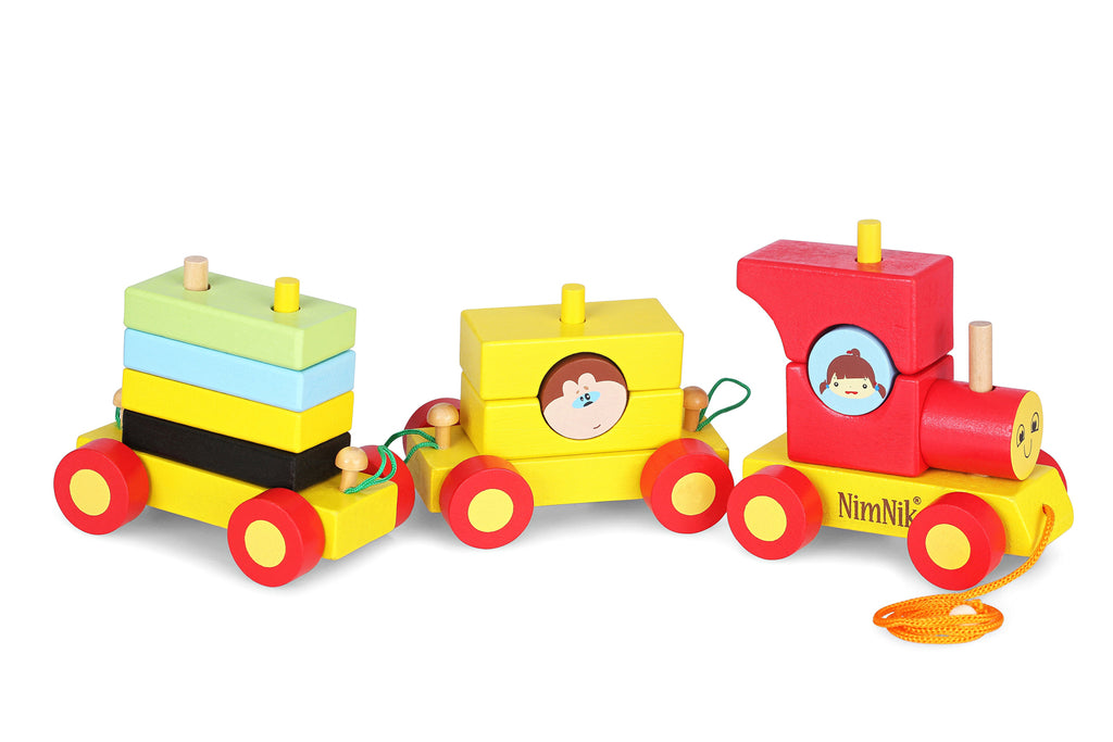 b12e03666 Pull Along Toys Wooden Train Set for Toddlers - Stacking Wooden Educat –  NimNik