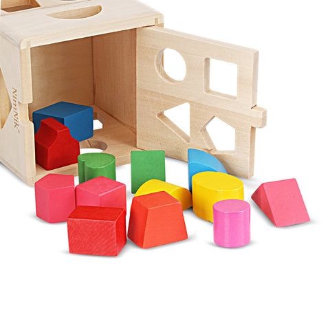 Wooden Shape Sorting Cube Classic Square Shape Sorter Baby First Blocks Shape-Sorting Toy for Early Learning for 3 Year Olds