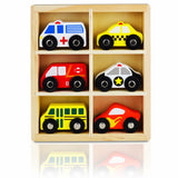 NimNik Wooden Toys Cars Postal Van School Bus Emergency Vehicles Educational Toy for Early Learning for Toddlers …