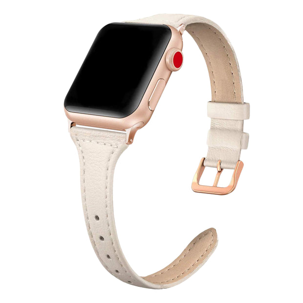 Beige Matte Slim Strap / Rose Gold Buckle - 38mm, 40mm, 42mm, 44mm