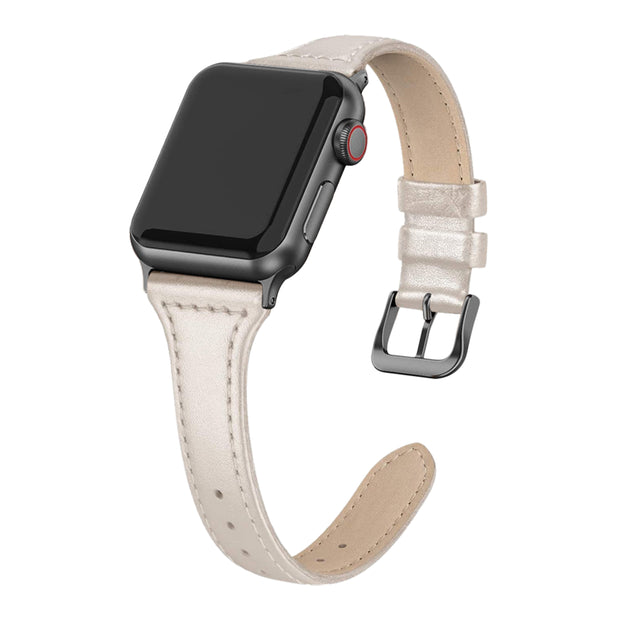 Beige Shiny Slim Strap / Black Buckle - 38mm, 40mm