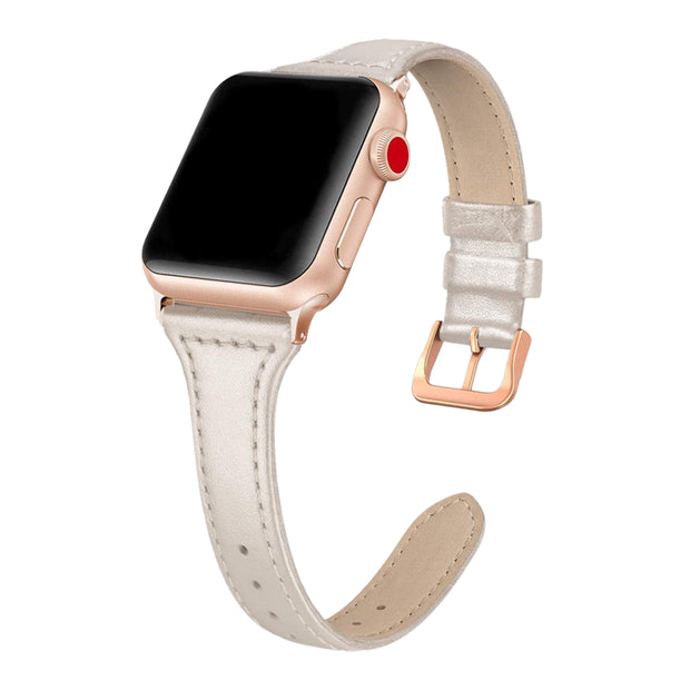Beige Shiny Slim Strap / Rose Gold Buckle - 38mm, 40mm