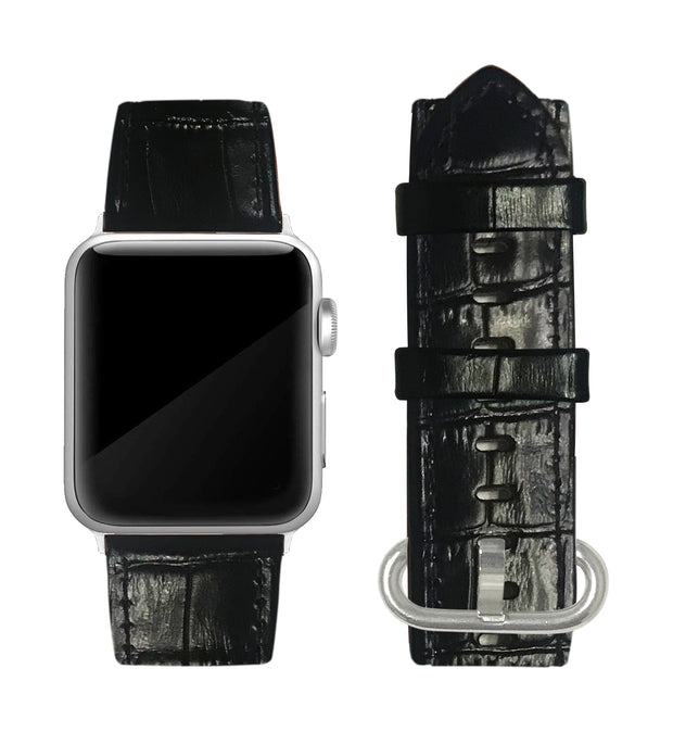 Black Alligator Print Strap / Silver Buckle - 38mm, 40mm, 42mm, 44mm
