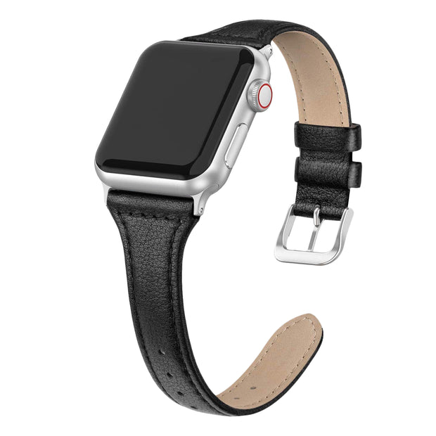Black Slim Strap / Silver Buckle - 38mm, 40mm, 42mm, 44mm