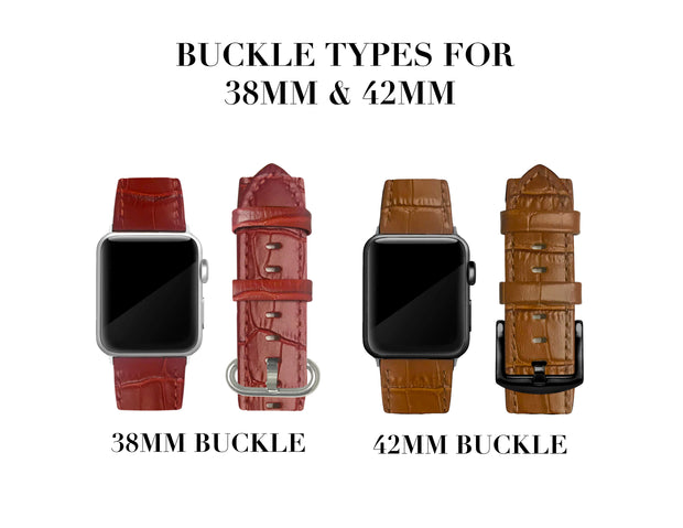 Black Alligator Print Strap / Black Buckle - 38mm, 40mm, 42mm, 44mm