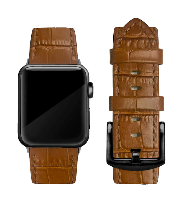 Camel Brown Alligator Print Strap / Black Buckle - 38mm, 40mm, 42mm, 44mm