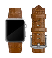 Camel Brown Alligator Print Strap / Silver Buckle - 38mm, 40mm, 42mm, 44mm