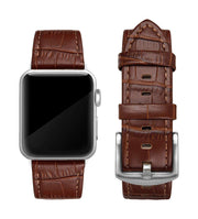 Dark Brown Alligator Print Strap / Silver Buckle - 38mm, 40mm, 42mm, 44mm