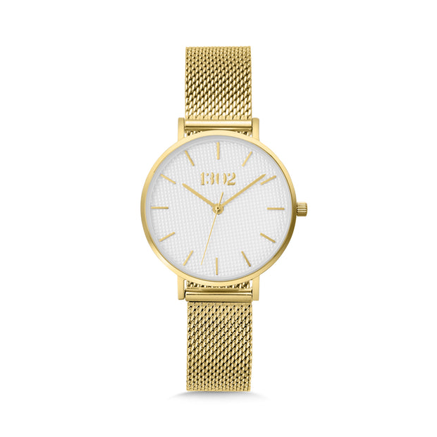 Gold Case / White Textured Dial